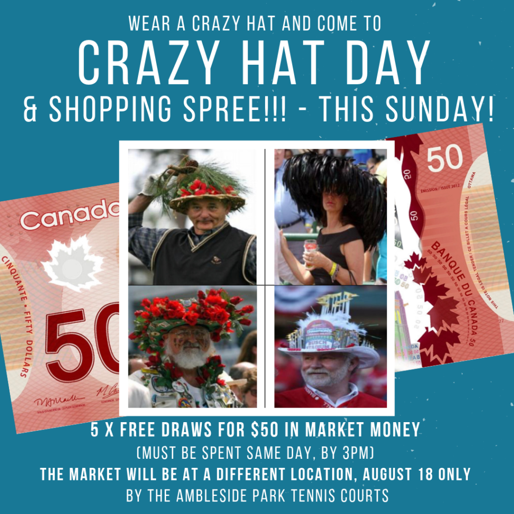 Crazy hat day at ambleside farmers market