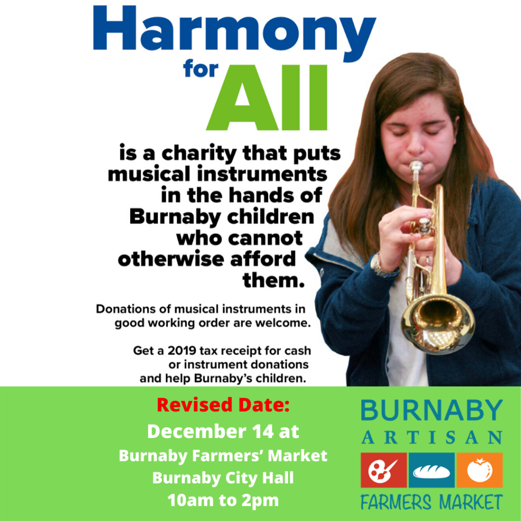 Harmony for All December Burnaby Winter farmers' Market Event