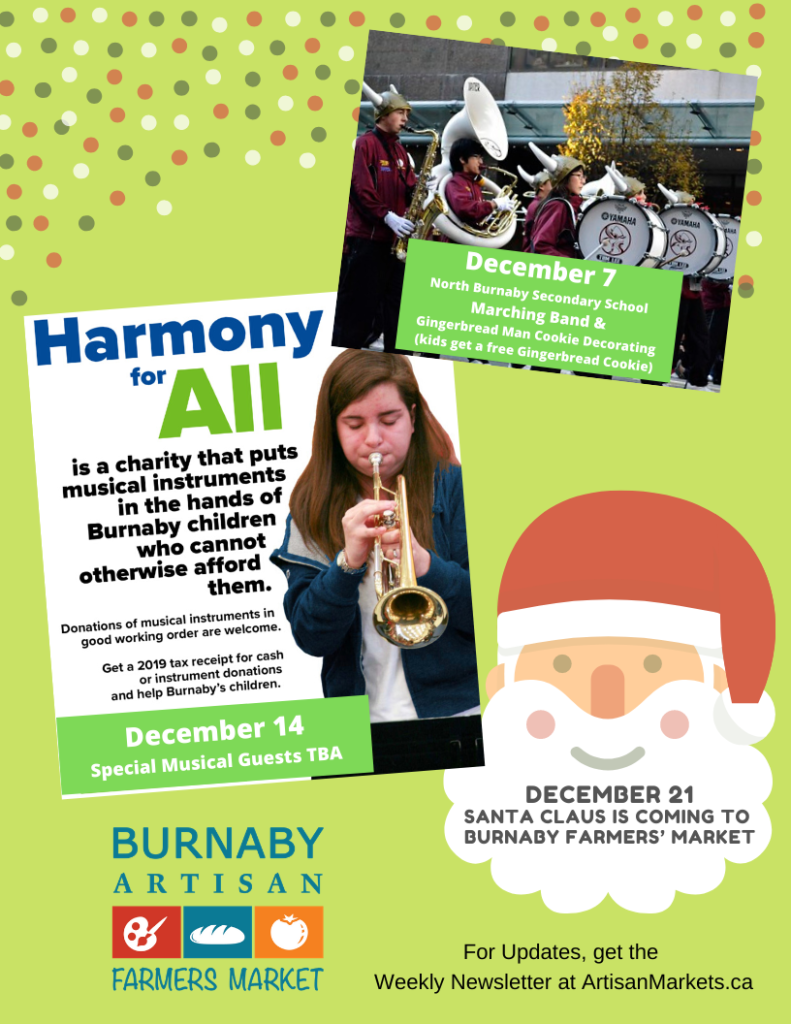 Harmony for All and other December Burnaby Winter farmers' Market Events